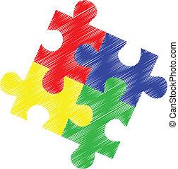 rejtvény, autism, darabok