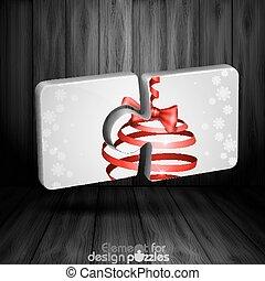 rejtvény, modern, íj, sablon, karácsony, szalag