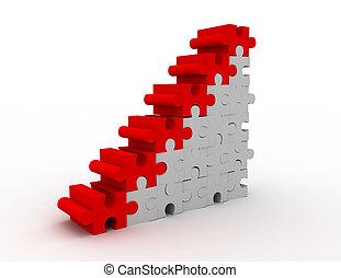 rejtvény, siker, anyagi grafikon, ábra