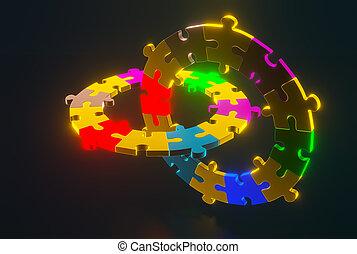 rejtvény, vakolás, darabok, 3, hands., birtok, számolás, emberi, -eik, négy