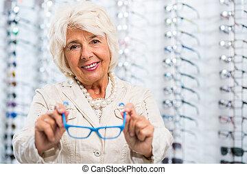 rejuvenating, mesma, com, trendy, óculos, bordas