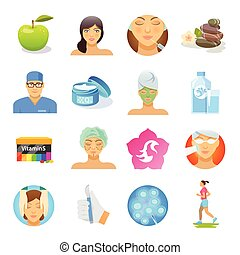 Rejuvenation Flat Icons Set