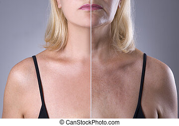 Rejuvenation woman's skin, before after anti aging concept,...