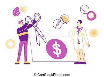 rekening, care, robe., mannelijke , knippen, karakter, arts, geneeskunde, dollar, medische schaar, prijs, gezondheid, witte , vector, illustratie, kosten, diensten, concept., lineair, mensen, reusachtig, kosten, patiënt