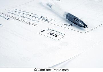 rekening, en, pen