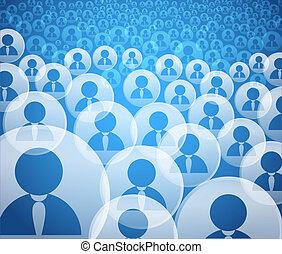 rekening, menigte, iconen, media, abstract, sociaal