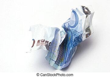 rekening, verfrommeld, eurobiljet