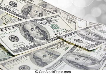 rekeningen, dollar, ons, een, achtergrond, honderd