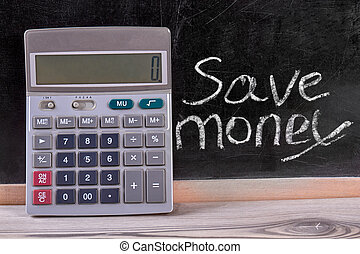 rekenmachine, en, bewaren geld, concept.