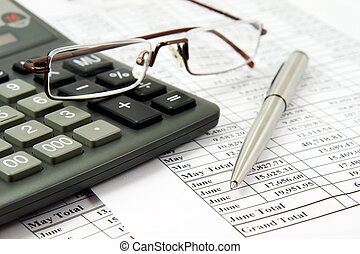 rekenmachine, en, bril op, financieel rapport