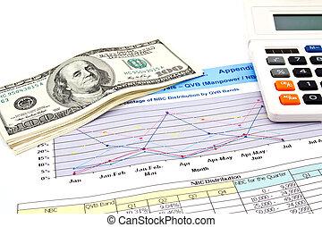 rekenmachine, en, dollars, op, financieel, grafieken