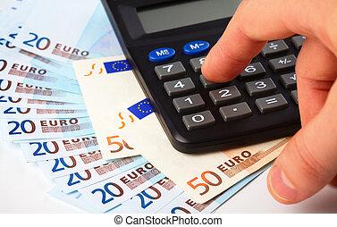 rekenmachine, en, geld, -, boekhouding, concept