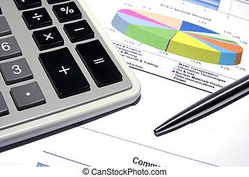 rekenmachine, en, staal, pen, op, bedrukt, financieel, data.
