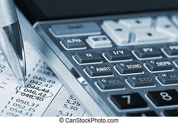 rekenmachine, financieel, document.