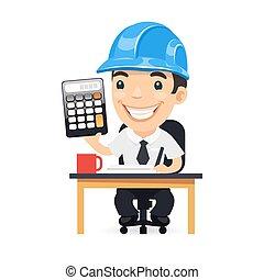 rekenmachine, karakter, spotprent, ingenieur