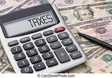 rekenmachine, met, geld, -, belastingen