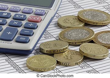 rekenmachine, &, muntjes, op, een, spreadsheet