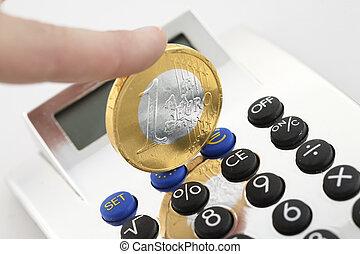 rekenmachine, op, geld