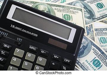 rekenmachine, op, honderd dollars, bankpapier