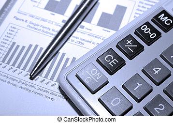 rekenmachine, staal, pen en, financiële analyse, report.