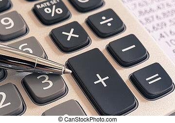 rekenmachine, voor, belasting, boekhouding, diensten, ouderwetse , filter.