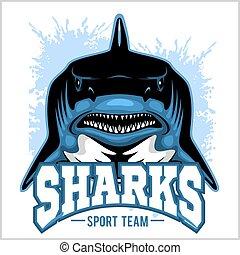 rekin, illustration., mascot., lekkoatletyka, wektor, silny