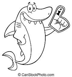 rekin, piana, konturowany, palec