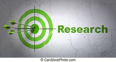reklama, concept:, tarcza, i, praca badawcza, na, ściana,...
