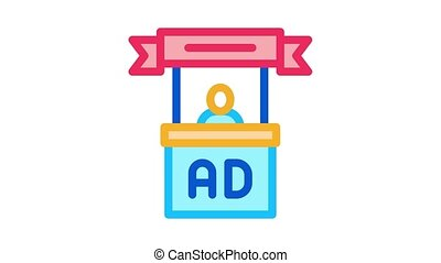 reklama, ożywienie, środek, ikona, przyjęcie