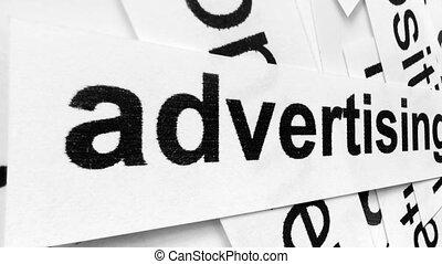 reklama, poślizg, tekst, aparat fotograficzny