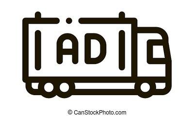 reklama, wózek, ożywienie, ikona
