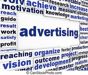 reklame, begrebsmæssig, meddelelse, baggrund