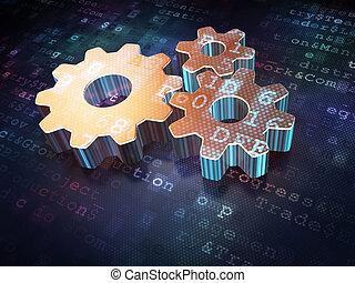 reklame, concept:, gylden, det gears, på, digital baggrund