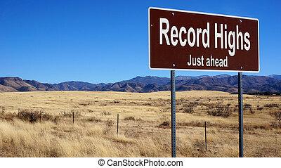 rekord, highs, brun, vägmärke