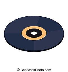 rekord, isometric, 3, vinyl, ikon