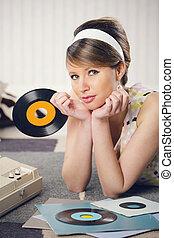 rekord, kvinna, lyssnande