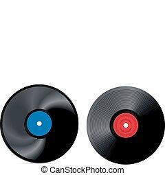 rekord, vektor, -, retro, vinyl