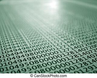 rekorder, begreb, kodet, trykt, database