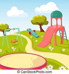 rekreation, barn, parkera, med, lek utrustning, vektor, illustration
