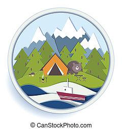 rekreation, emblem, skog, camping