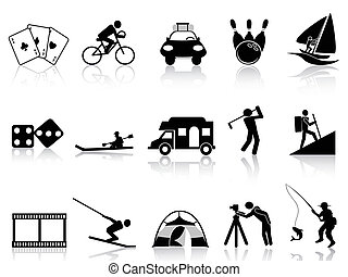 rekreation, sätta, fritid, ikonen