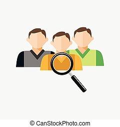 rekrutering, eller, kandidat, firma, ransager