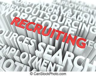 rekrutierung, -, wordcloud., text, weiß rot