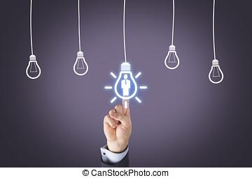 rekrytering, ny idé, lösning, på, synlig bildskärm