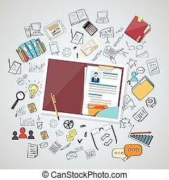 rekrytering, resurs, lärokurs, mänsklig, dokument, vitae