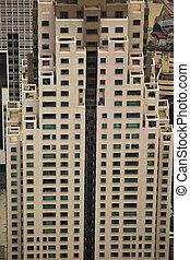 rektangulær, mønstre, i, vinduer, og, udenfor, lift, på, skyscaper, ind, kuala lumpur, malaysia
