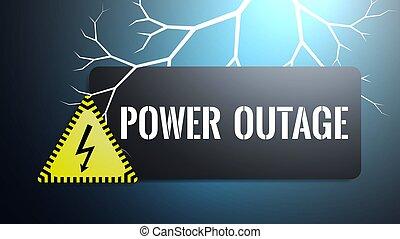 relámpago, banner., electricidad, texto, outage, señal, ...