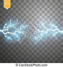 relámpago, descarga, explosión, cargado, voltaje, resumen, choque, potencia, luz azul, vector, eléctrico, transparente, spark., energía, efecto, cluster., brillo, especial, fondo., alto, núcleo