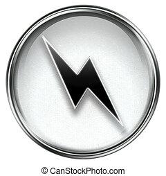 relámpago, gris, icono
