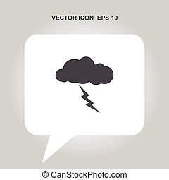 relámpago, vector, nube, icono